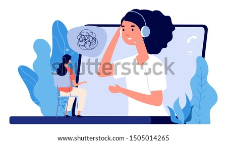 Psychological counseling concept. Vector online psychological assistance service illustration