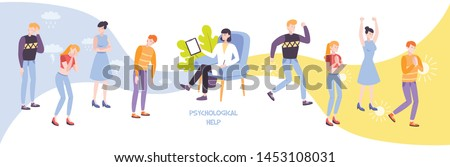 Psychological help flat composition with psychologist and group of people experiencing negative or positive emotions through gestures vector illustration