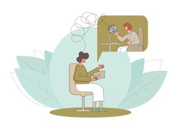 Psychological help online. Counseling concept. Internet therapy session with stressed patient. Psychiatrist and client talking about feeling.  Couch listening sad man. Vecotor flat illustration.