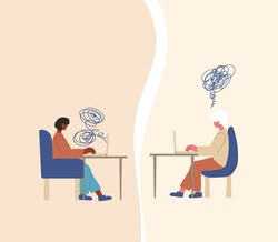 Psychological help online. Counseling concept. Internet therapy session with stressed patient. Psychiatrist and client talking about feeling.  Couch listening sad woman. Vecotor flat illustration.