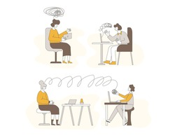 Psychological help online scenes. Counseling concept. Internet therapy session with stressed patient. Psychiatrist and client talking about feeling. Couch listening sad man. Vecotor flat illustration.
