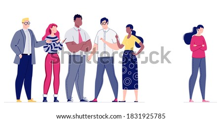 Psychological pressure on the employee by the management of the company or the whole team. The staff does not accept a colleague in their team. Mobbing. Vector. Illustration in flat cartoon style. Stockfoto ©