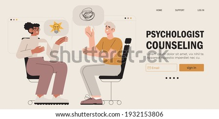 Psychological therapy counseling or online consultaion concept banner. Psycologist provide professional help to depressed person or resolve physical, emotional and mental health issues and crises.  Сток-фото ©