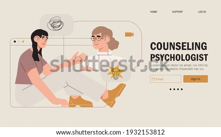Psychological therapy counseling or online consultaion concept banner. Psycologist provide professional help to depressed person or resolve physical, emotional and mental health issues and crises.  Foto stock ©