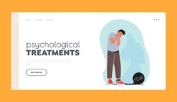 Psychological Treatments Landing Page Template. Fear, Mental Disorder Concept. Male Character Crying with Heavy Bob and Chain on Leg Frightened with Ghost Shadow, Panic. Cartoon Vector Illustration