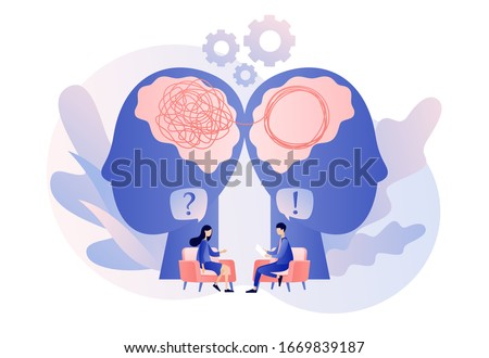 Psychologist consulting patient. Psychotherapy practice, psychological help, psychologist service, private counseling, psychology. Modern flat cartoon style. Vector illustration on white background