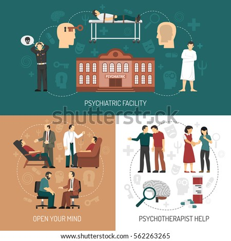 Psychologist design concept with icons representing medical help in psychiatric facility and people having therapy session with psychologist flat vector illustration