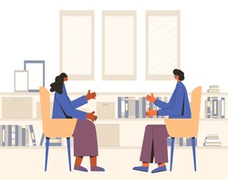 Psychologist have a talk with her client. Psychotherapy. Counseling. Female patient with therapist sitting and talking about depression, family problems. Couch session. Vector flat illustration.