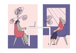 Psychologist having online session with her patient. Counseling therapy. Female character try to help woman with depression. Psychotherapy concept. Woman talking to therapist. Vectorillustration.