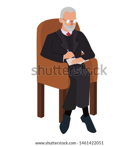 Psychologist in the chair. Adult man. Vector graphics isolated on white background.