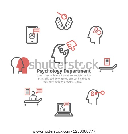 Psychologist line icons set. Round banner. Conceptual signs. Vector illustration