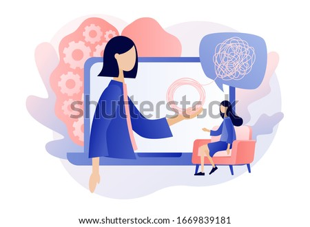 Psychologist online. Psychotherapy practice, psychological help, psychiatrist consulting patient. Psychology. Modern flat cartoon style. Vector illustration on white background Foto stock ©
