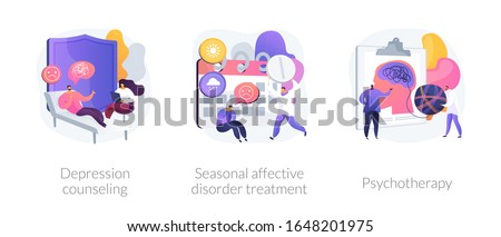Psychology and psychiatry, mental disorder therapy. Depression counseling, seasonal affective disorder treatment, psychotherapy metaphors. Vector isolated concept metaphor illustrations.