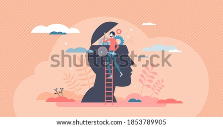 Psychology as open mind therapy to solve emotional inner mess tiny person concept. Symbolic head research scene as specialist session visit for anxiety and frustration help support vector illustration