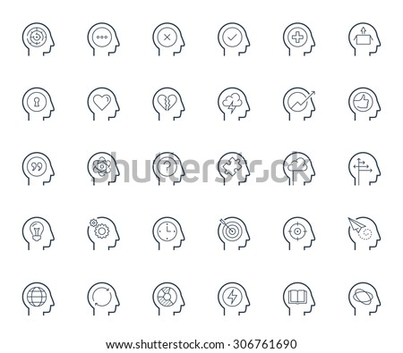 Psychology, brain activity and head related concepts thin line icon set