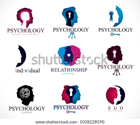 Psychology, brain and mental health vector conceptual icons or logos set. Relationship and gender psychology problems and conflicts, psychoanalysis and psychotherapy, personality and individuality.