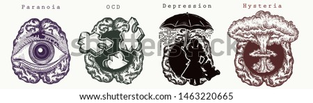 Psychology collection. Paranoia, OCD (Obsessive Compulsive Disorder), depression, Hysteria. Psychological vector illustration. Psychotherapy and psychiatry art Foto stock ©