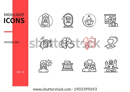 Psychology concept - line design style icons set. Mental health and personal development idea. Positive thinking, emotional intelligence. Narrative therapy, healthy relationship, mindfulness solutions Foto d'archivio ©