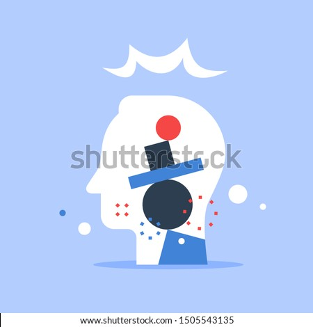 Psychology concept, mental balance, emotions and feelings control, patience or tolerance, unsteady personality, self esteem and confidence level, critical thinking, vector flat illustration