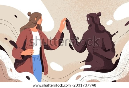 Psychology concept of finding and meeting shadow personality, unconscious side of self. Person discovering unknown hidden dark part of herself. Woman accepting her archetype. Flat vector illustration