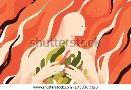 Psychology concept of mental health, soul recovery, self-care and inner world cultivation. Development of love in yourself and overcoming personal problems. Colored flat textured vector illustration Foto d'archivio ©