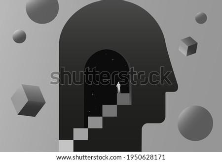Psychology concept vector illustration. Mental health, depression, seasonal affected, sleep disorder. Psychiatry, philosophy. Сток-фото ©