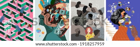 Psychology, destiny, anxiety, stress. Vector psychedelic illustrations of human emotions, reflections and dreams. Loneliness and depression themes for poster and background