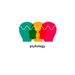 Psychology icon, psychologist, psychotherapy symbol, eq sign, coaching, three male profiles. Vector illustration