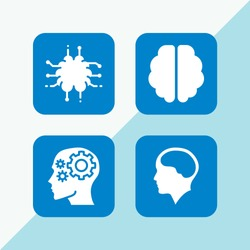 psychology icon. 4 psychology set with brain, mind and brain inside human head vector icons for web and mobile app