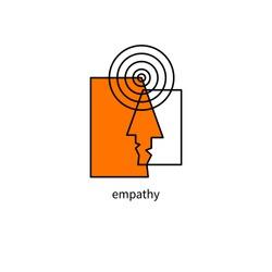 Psychology logo, empathy icon, psychotherapy sign, vector psychologist symbol.