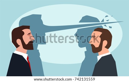 Psychology of lies concept. Man with long nose lying another guy