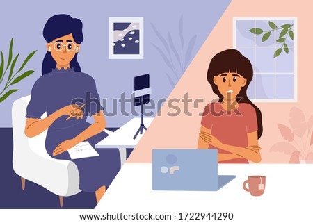 Psychology or psychotherapy online session. Video call with woman psychologist. Sad scared girl talking to psychotherapist. Support, help with mental problem, depressive disorders. Vector illustration