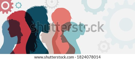 Psychology. Psychological therapy. Psychiatry and neurology. Mind thinking brain memory intelligence and cognition. Silhouette heads in profile group of people. Neuroscience. Assistance