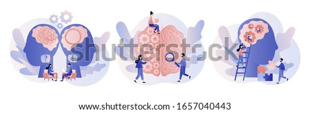 Psychology. Psychologist online. Psychotherapy practice, psychological help, psychiatrist consulting patient. Modern flat cartoon style. Vector illustration on white background Foto stock ©
