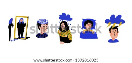 Psychology. Set of men and women with psychological problems on white background. Mental disorders, illnesses, psychiatry. Naive style flat vector illustration