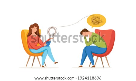 Psychology therapy counseling vector concept. Cartoon illustration of psychotherapy practice therapy session woman sitting and talking with patient with stress, depression or mental problem.  Stockfoto ©