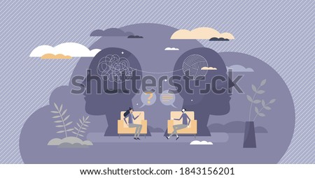 Psychology therapy doctor session with confused patient tiny person concept. Mental health care about feelings, emotions and talking about frustration, stress and depression help vector illustration.