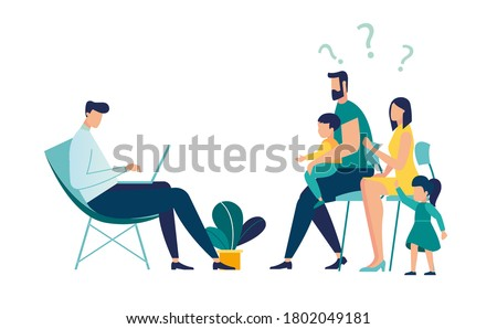 Psychotherapeutic counseling for a child concept, a therapy session with a family psychologist, Treatment of child stress, addictions and mental problems Stockfoto ©