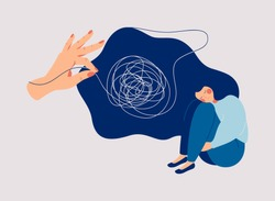 Psychotherapy and psychology help with depressive disorders. Helping hand unravels the tangle of thoughts of a woman suffering from prolonged sadness, fatigue, chronic pain, headaches or stomachaches.