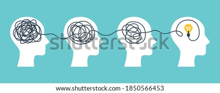 Psychotherapy Concept, brainstorming and mental problem solving. Vector illustration. Brains with tangled knot and order in one man's head. Simplifying the complex path. Light bulb idea and scribbles. Foto stock ©