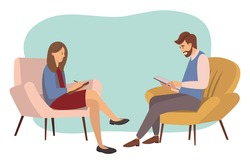 Psychotherapy counseling concept. Psychologist woman and young man patient in therapy session. Treatment of stress, addictions and mental problems. People sit in chairs and write in notebooks