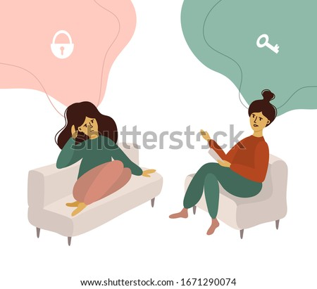 Psychotherapy, mental problem or depression treatment concept. Vector illustration of sad girl talking with psychologist. Psychology doctor looking for the key to locked mind of patient. Woman issues.