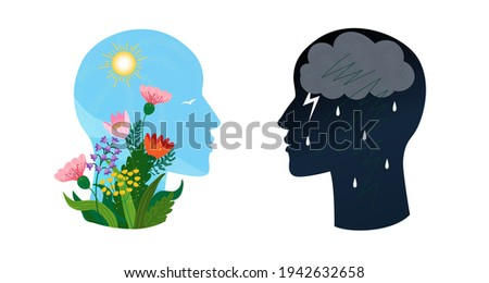 Psychotherapy or psychology support concept. Two heads with different states of consciousness minde - depression with thundercloud and rain and positive mental health mood with sun and flowers. Vector Foto stock ©