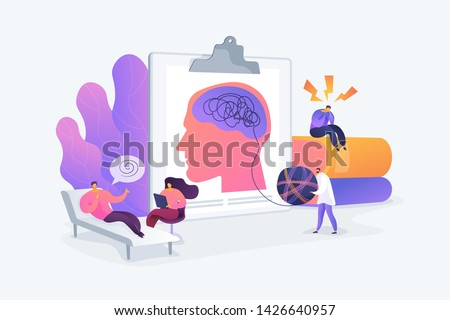 Psychotherapy practice, psychiatrist consulting patient. Mental disorder treatment. Psychologist service, private counseling, family psychology concept. Vector isolated concept creative illustration Foto stock ©