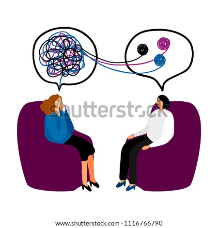 Psychotherapy. Woman psychologist with tangled and untangled brain metaphor, society psychiatry concept vector illustration