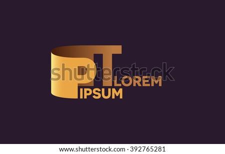 PT letters logo, P and T letters logo alphabet design. Stock fotó ©