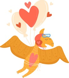 Pterodactyl, cute cartoon-style dinosaur flying on red heart-shaped balloon, flat style vector illustration, isolated on white, amazing designn colorful children prehistoric animal, print baby clothes