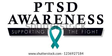 PTSD Awareness Ribbon, Post Traumatic Stress Disorder Vector Logo to Promote Awareness, Teal Ribbon for Social Media Use and Fundraising Campaigns