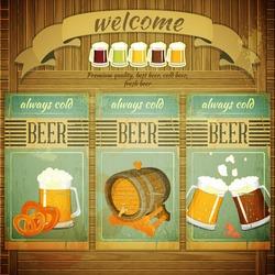 Pub Beer Menu in Retro Vintage Grunge Style, Set of Labels on Wooden Background. Vector Illustration.