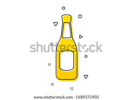 Pub Craft beer sign. Beer bottle icon. Brewery beverage symbol. Yellow circles pattern. Classic beer icon. Geometric elements. Vector